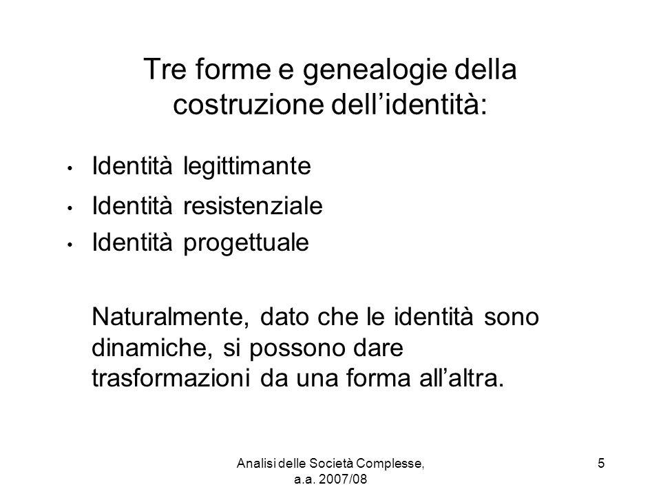 Analisi delle Società Complesse, a.a. 2007/08 5 Tre forme e genealogie della costruzione dell'identità: Identità legittimante Identità resistenziale I