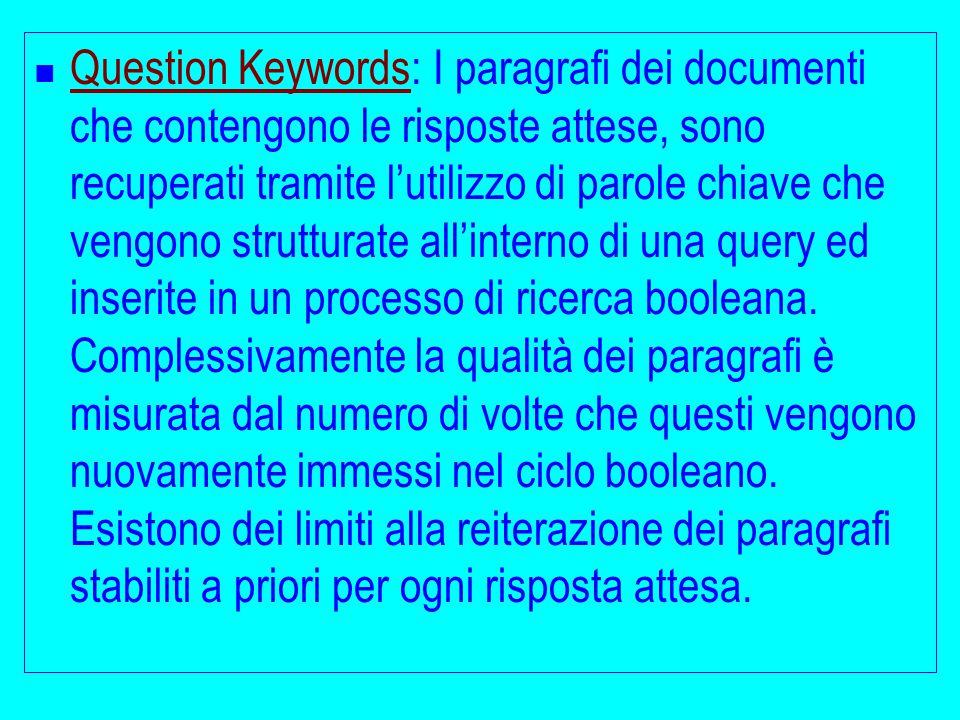 Question Keywords: I paragrafi dei documenti che contengono le risposte attese, sono recuperati tramite l'utilizzo di parole chiave che vengono strutturate all'interno di una query ed inserite in un processo di ricerca booleana.