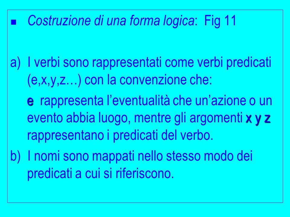 Costruzione di una forma logica : Fig 11 a) I verbi sono rappresentati come verbi predicati (e,x,y,z…) con la convenzione che: e x y z e rappresenta l'eventualità che un'azione o un evento abbia luogo, mentre gli argomenti x y z rappresentano i predicati del verbo.
