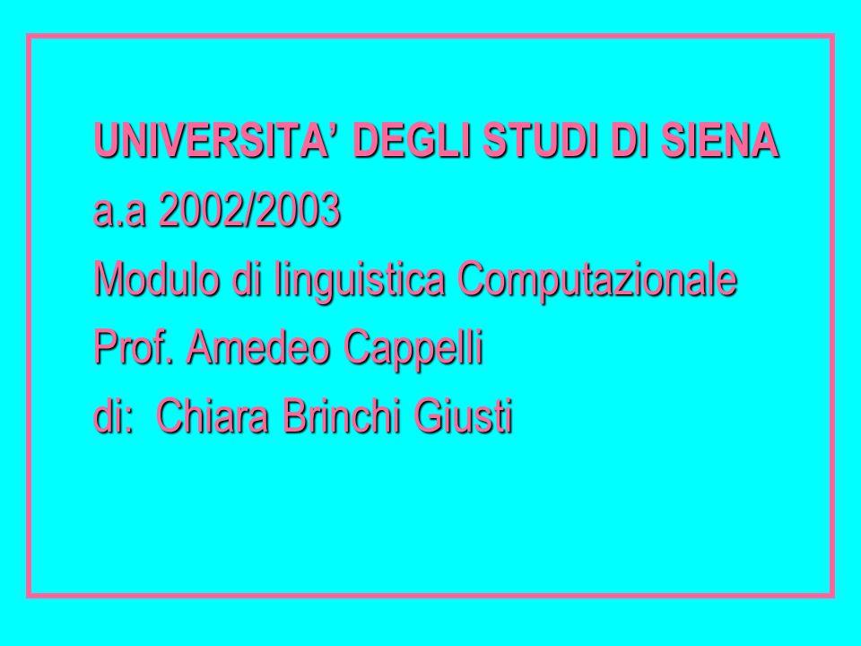 UNIVERSITA' DEGLI STUDI DI SIENA a.a 2002/2003 Modulo di linguistica Computazionale Prof. Amedeo Cappelli di: Chiara Brinchi Giusti