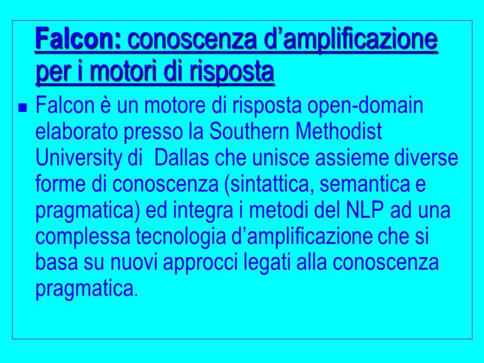 Falcon: conoscenza d'amplificazione per i motori di risposta Falcon è un motore di risposta open-domain elaborato presso la Southern Methodist Univers
