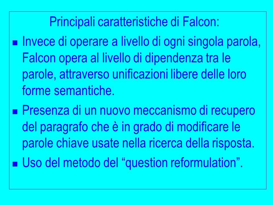 Principali caratteristiche di Falcon: Invece di operare a livello di ogni singola parola, Falcon opera al livello di dipendenza tra le parole, attraverso unificazioni libere delle loro forme semantiche.