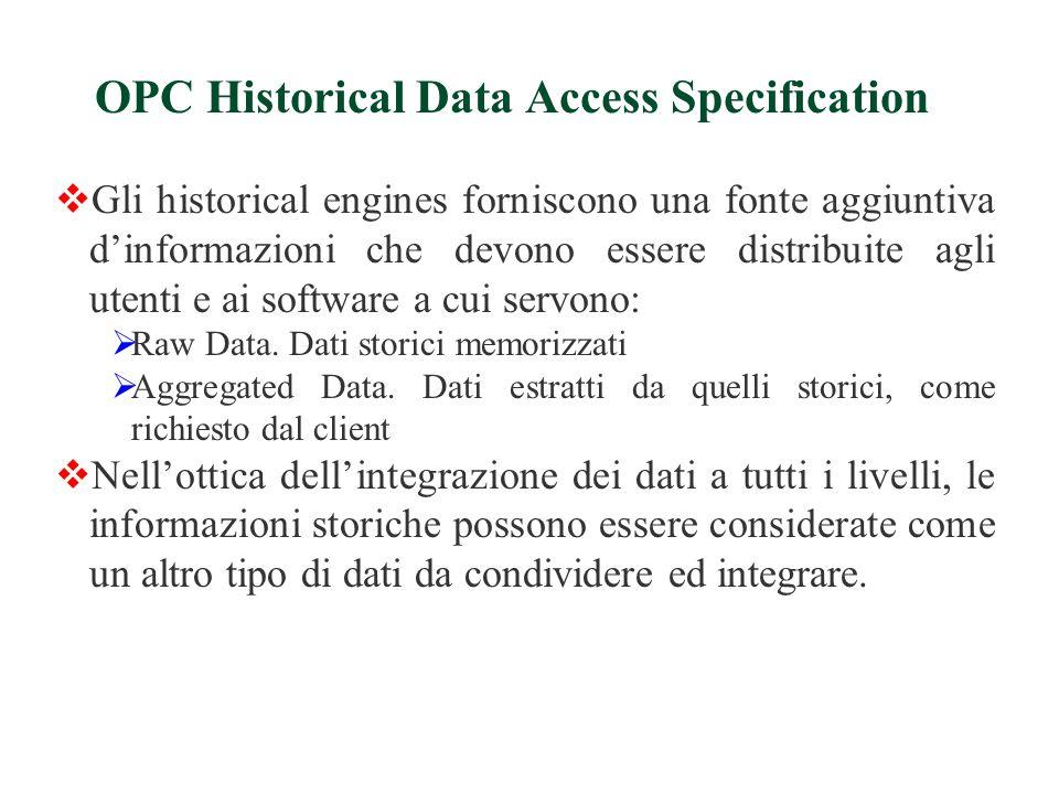  Gli historical engines forniscono una fonte aggiuntiva d'informazioni che devono essere distribuite agli utenti e ai software a cui servono:  Raw Data.