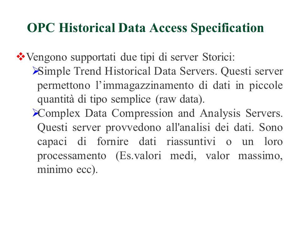  Vengono supportati due tipi di server Storici:  Simple Trend Historical Data Servers.