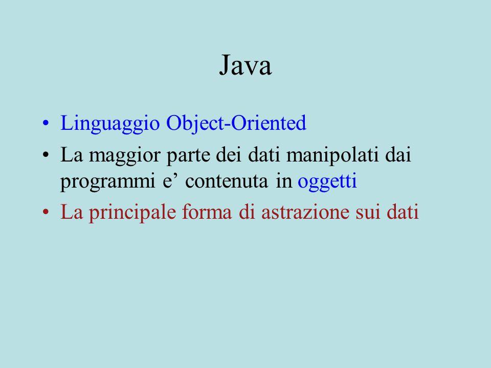 Java Linguaggio Object-Oriented La maggior parte dei dati manipolati dai programmi e' contenuta in oggetti La principale forma di astrazione sui dati