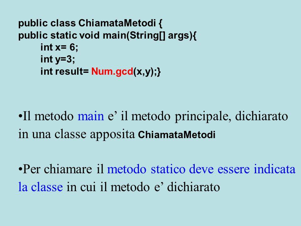 public class ChiamataMetodi { public static void main(String[] args){ int x= 6; int y=3; int result= Num.gcd(x,y);} Il metodo main e' il metodo principale, dichiarato in una classe apposita ChiamataMetodi Per chiamare il metodo statico deve essere indicata la classe in cui il metodo e' dichiarato