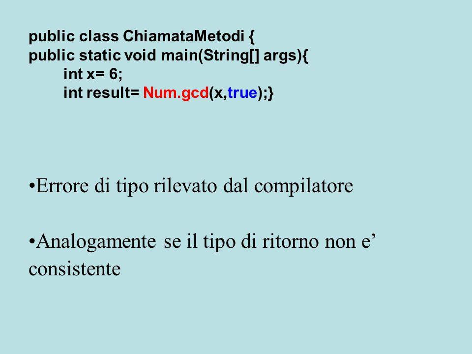 public class ChiamataMetodi { public static void main(String[] args){ int x= 6; int result= Num.gcd(x,true);} Errore di tipo rilevato dal compilatore Analogamente se il tipo di ritorno non e' consistente