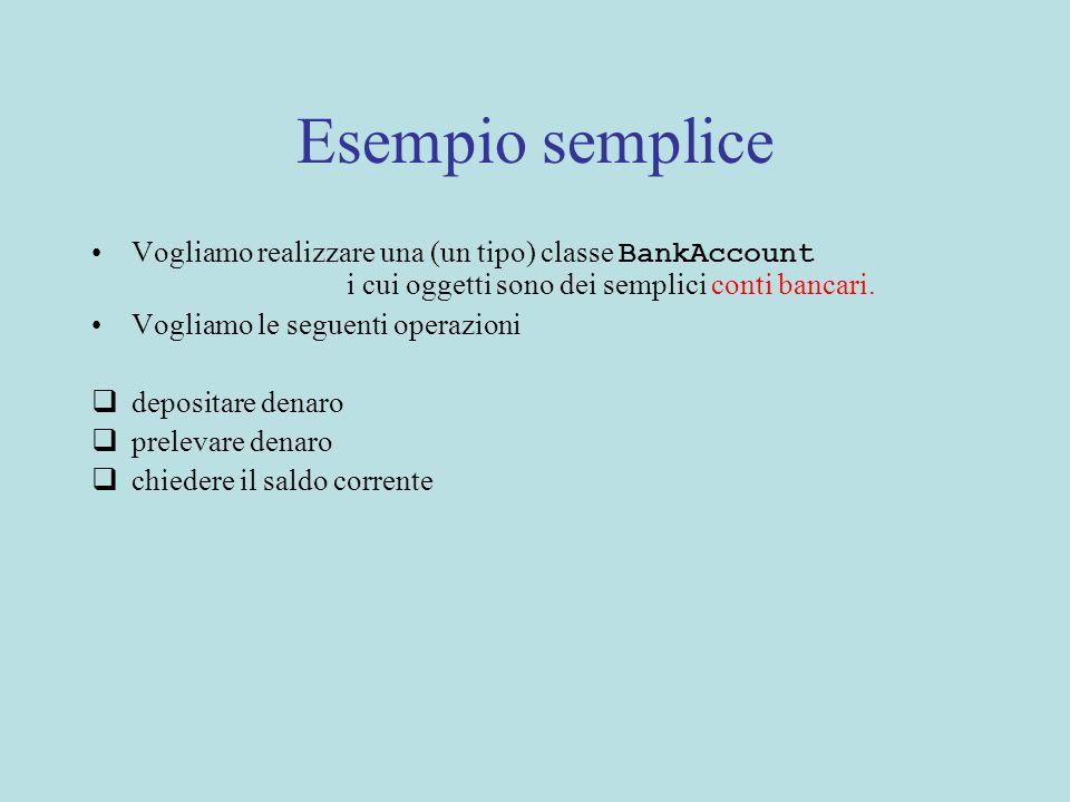 Esempio semplice Vogliamo realizzare una (un tipo) classe BankAccount i cui oggetti sono dei semplici conti bancari.