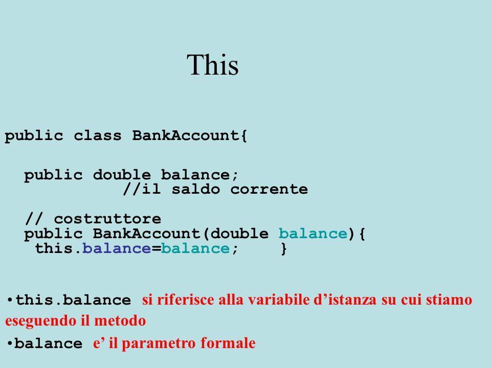 This public class BankAccount{ public double balance; //il saldo corrente // costruttore public BankAccount(double balance){ this.balance=balance; } this.balance si riferisce alla variabile d'istanza su cui stiamo eseguendo il metodo balance e' il parametro formale