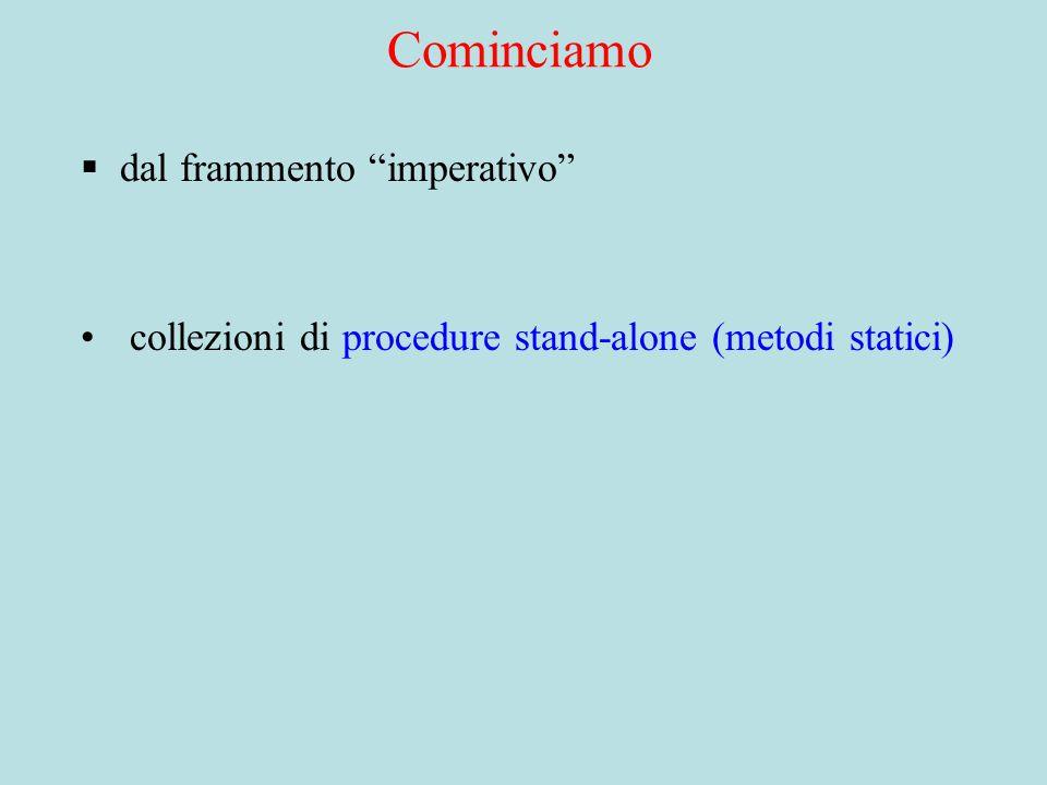 Cominciamo  dal frammento imperativo collezioni di procedure stand-alone (metodi statici)