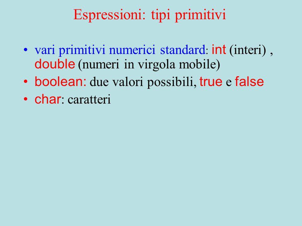 Tipi di Dato La classe definisce un tipo Lo stato degli oggetti e' definito da variabili d'istanza Le operazioni sono definite da metodi d'istanza Gli oggetti istanze della classe hanno quel tipo