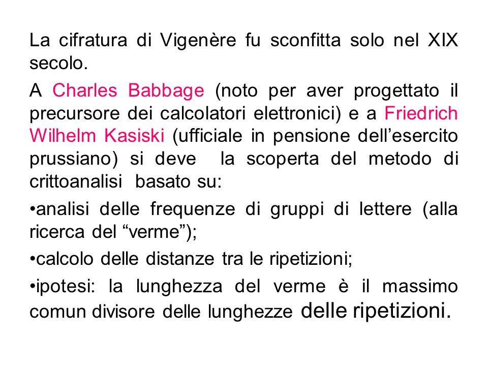 La cifratura di Vigenère fu sconfitta solo nel XIX secolo. A Charles Babbage (noto per aver progettato il precursore dei calcolatori elettronici) e a