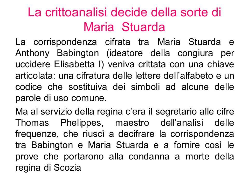 La crittoanalisi decide della sorte di Maria Stuarda La corrispondenza cifrata tra Maria Stuarda e Anthony Babington (ideatore della congiura per ucci