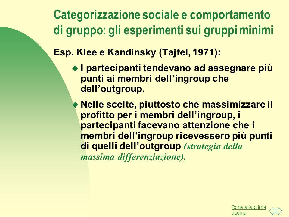 Torna alla prima pagina Categorizzazione sociale e comportamento di gruppo: gli esperimenti sui gruppi minimi Esp. Klee e Kandinsky (Tajfel, 1971): u
