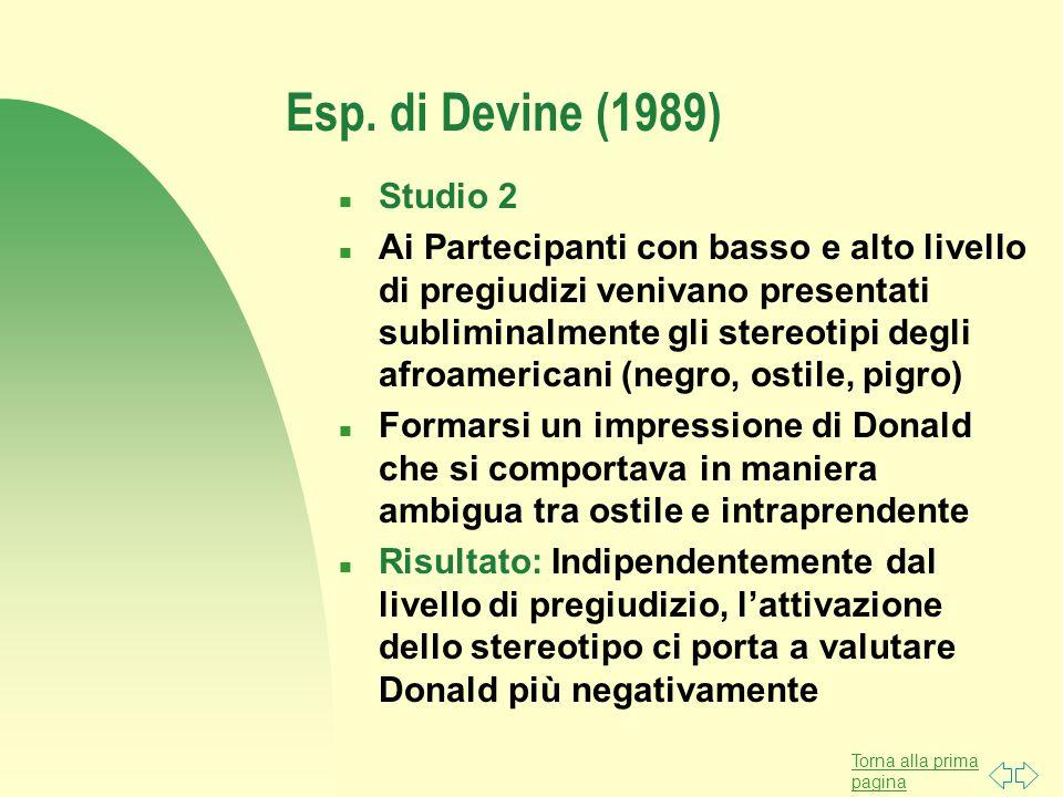 Torna alla prima pagina Esp. di Devine (1989) n Studio 2 n Ai Partecipanti con basso e alto livello di pregiudizi venivano presentati subliminalmente