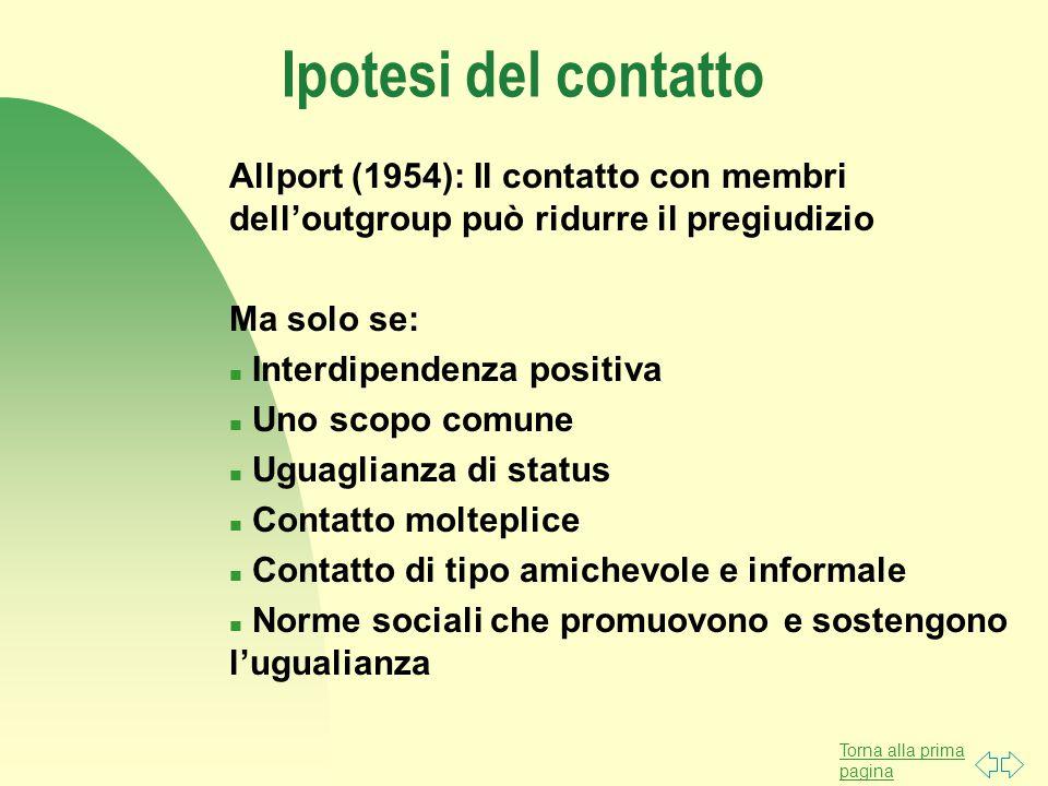 Torna alla prima pagina Ipotesi del contatto Allport (1954): Il contatto con membri dell'outgroup può ridurre il pregiudizio Ma solo se: n Interdipend