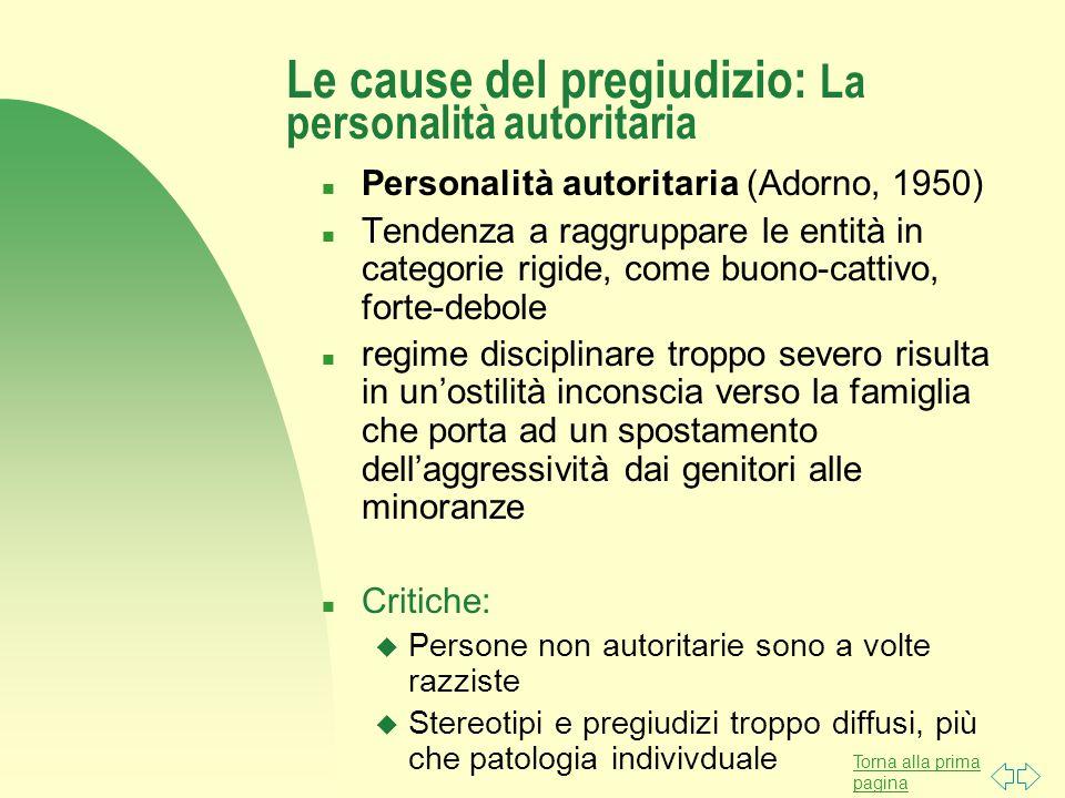 Torna alla prima pagina Le cause del pregiudizio: La personalità autoritaria n Personalità autoritaria (Adorno, 1950) n Tendenza a raggruppare le enti