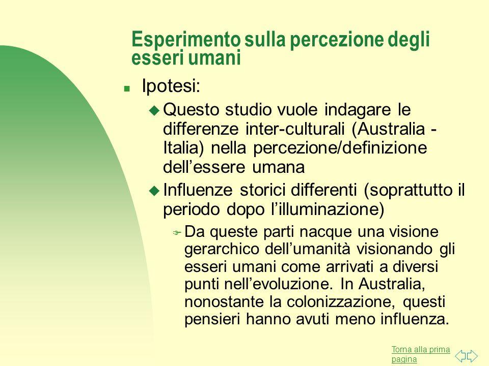 Torna alla prima pagina Esperimento sulla percezione degli esseri umani n Ipotesi: u Questo studio vuole indagare le differenze inter-culturali (Austr