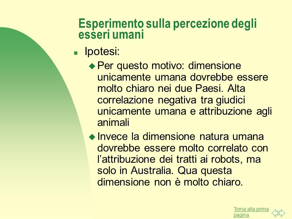 Torna alla prima pagina Esperimento sulla percezione degli esseri umani n Ipotesi: u Per questo motivo: dimensione unicamente umana dovrebbe essere mo
