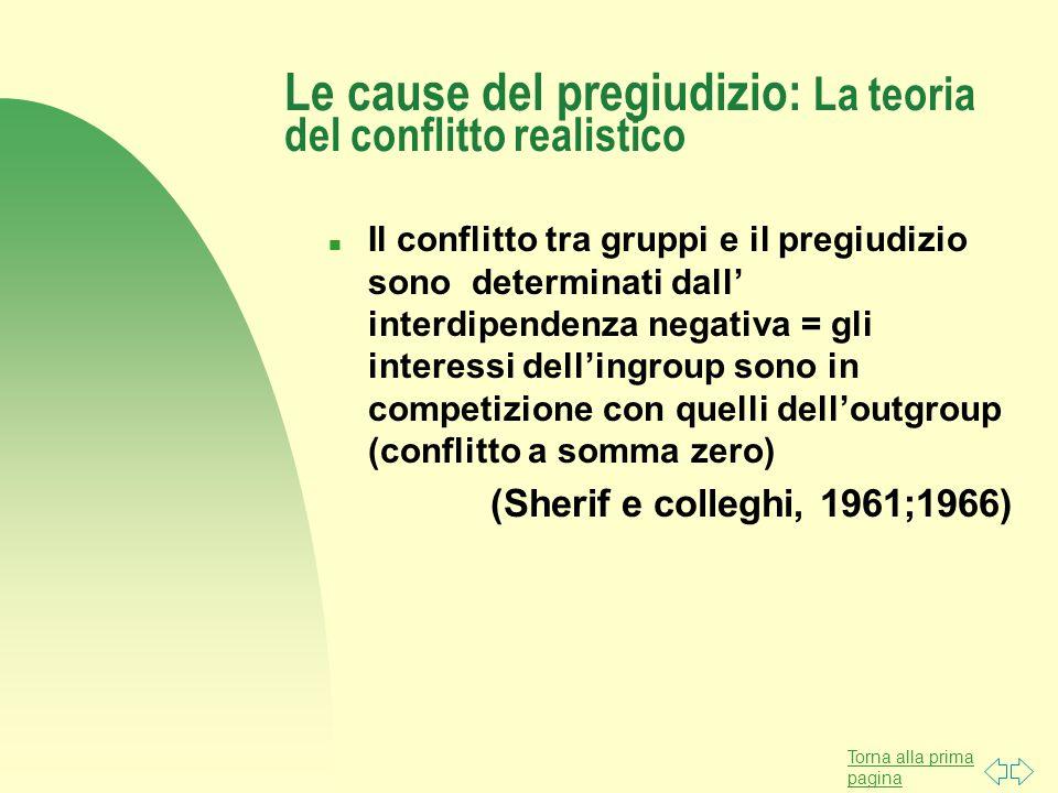 Torna alla prima pagina Le cause del pregiudizio: La teoria del conflitto realistico n Il conflitto tra gruppi e il pregiudizio sono determinati dall' interdipendenza negativa = gli interessi dell'ingroup sono in competizione con quelli dell'outgroup (conflitto a somma zero) (Sherif e colleghi, 1961;1966)