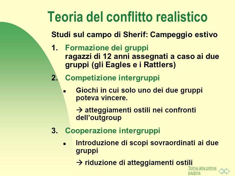 Torna alla prima pagina Teoria del conflitto realistico Studi sul campo di Sherif: Campeggio estivo 1.Formazione dei gruppi ragazzi di 12 anni assegna