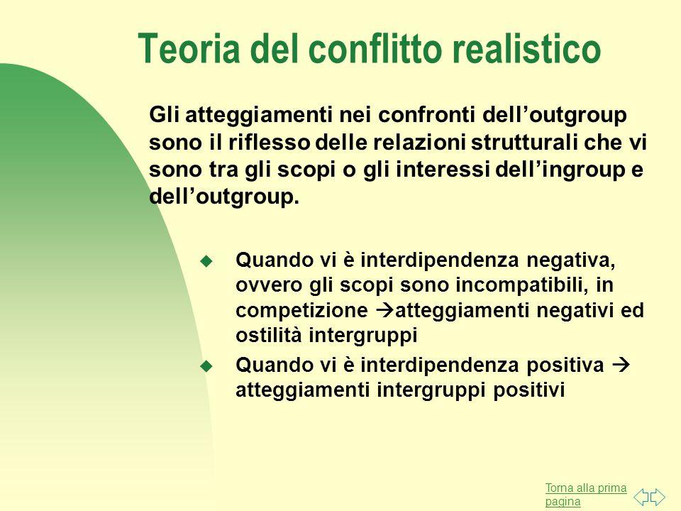 Torna alla prima pagina Teoria del conflitto realistico Gli atteggiamenti nei confronti dell'outgroup sono il riflesso delle relazioni strutturali che vi sono tra gli scopi o gli interessi dell'ingroup e dell'outgroup.