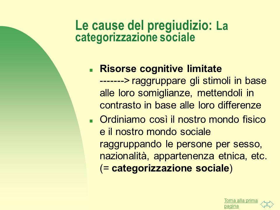 Torna alla prima pagina Le cause del pregiudizio: La categorizzazione sociale n Risorse cognitive limitate -------> raggruppare gli stimoli in base al