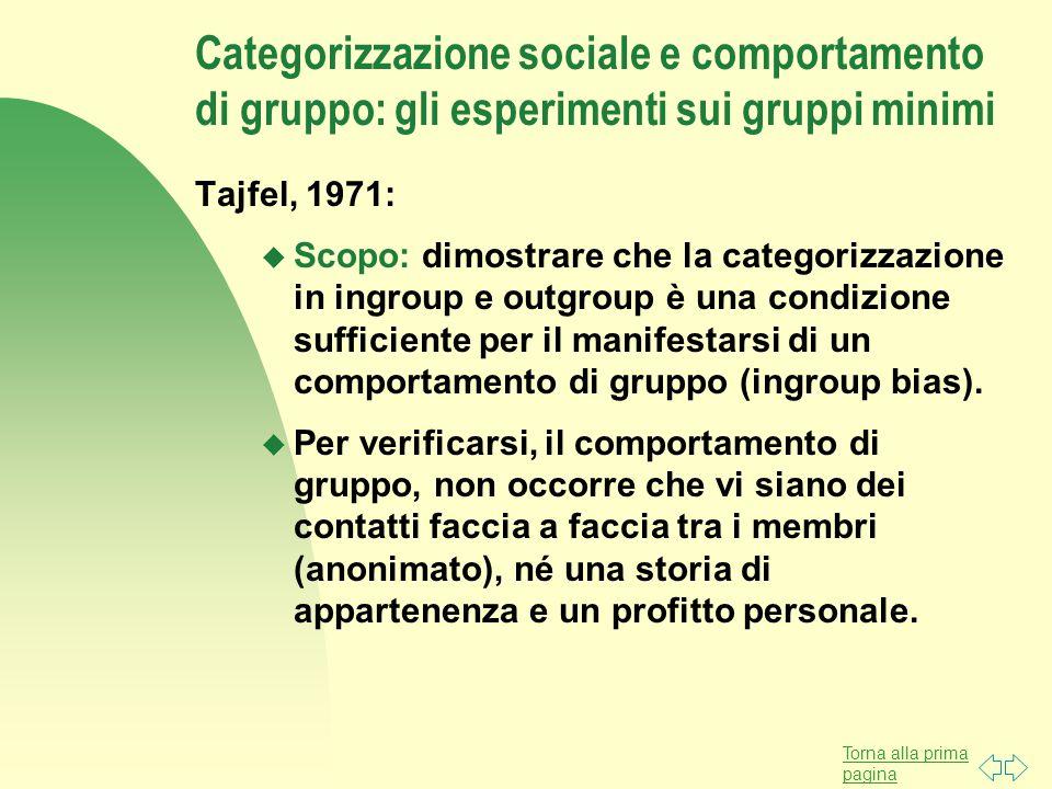 Torna alla prima pagina Categorizzazione sociale e comportamento di gruppo: gli esperimenti sui gruppi minimi Tajfel, 1971: u Scopo: dimostrare che la categorizzazione in ingroup e outgroup è una condizione sufficiente per il manifestarsi di un comportamento di gruppo (ingroup bias).