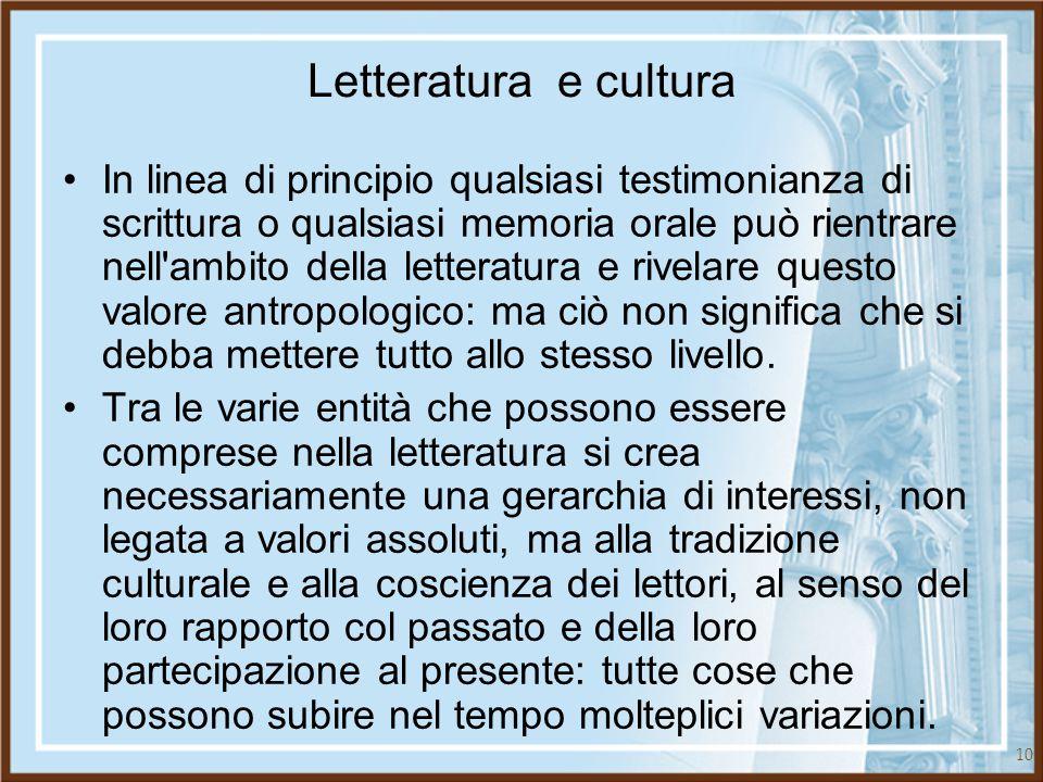 10 Letteratura e cultura In linea di principio qualsiasi testimonianza di scrittura o qualsiasi memoria orale può rientrare nell'ambito della letterat