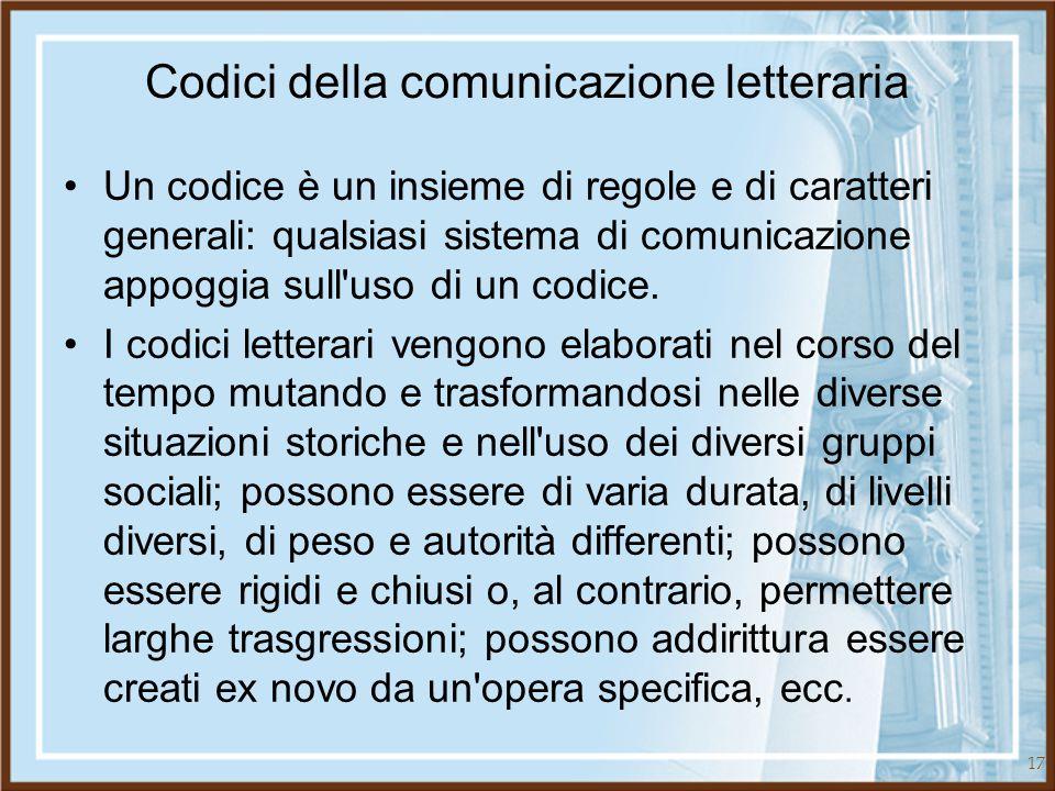 17 Codici della comunicazione letteraria Un codice è un insieme di regole e di caratteri generali: qualsiasi sistema di comunicazione appoggia sull'us