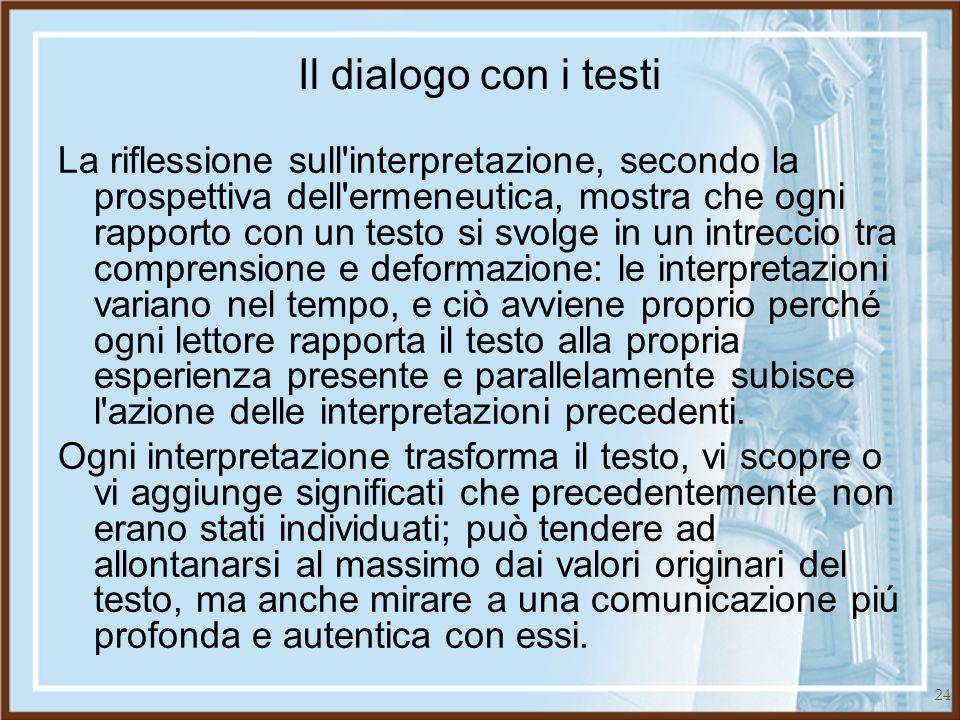 24 Il dialogo con i testi La riflessione sull'interpretazione, secondo la prospettiva dell'ermeneutica, mostra che ogni rapporto con un testo si svolg