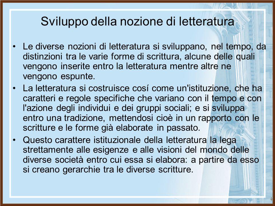 15 Opera e testo Per indicare gli oggetti letterari la tradizione ha elaborato due categorie: opera e testo.