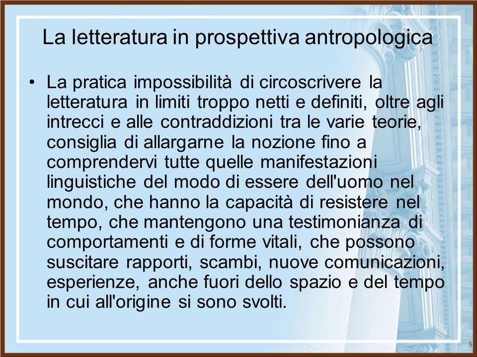 8 La letteratura in prospettiva antropologica La pratica impossibilità di circoscrivere la letteratura in limiti troppo netti e definiti, oltre agli i