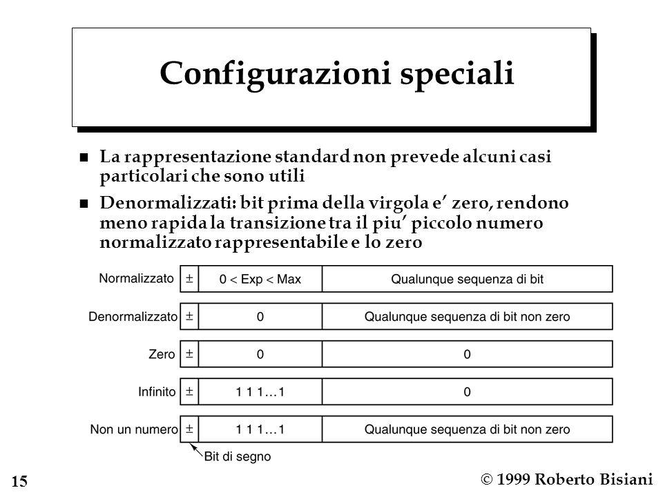 15 © 1999 Roberto Bisiani Configurazioni speciali n La rappresentazione standard non prevede alcuni casi particolari che sono utili n Denormalizzati: