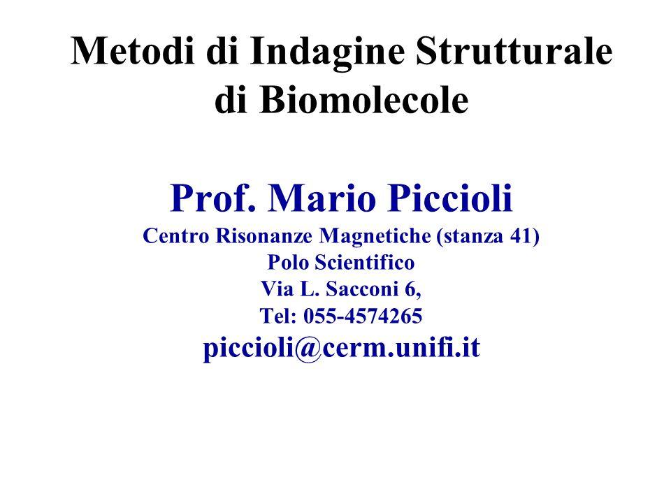 Metodi di Indagine Strutturale di Biomolecole Prof.