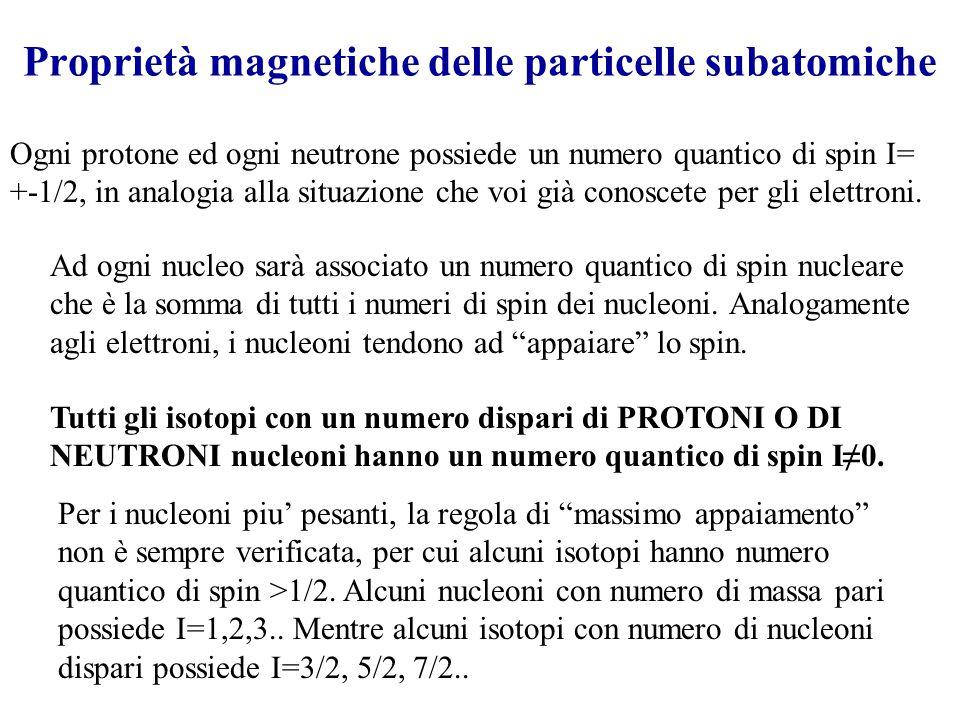 Proprietà magnetiche delle particelle subatomiche Ogni protone ed ogni neutrone possiede un numero quantico di spin I= +-1/2, in analogia alla situazione che voi già conoscete per gli elettroni.