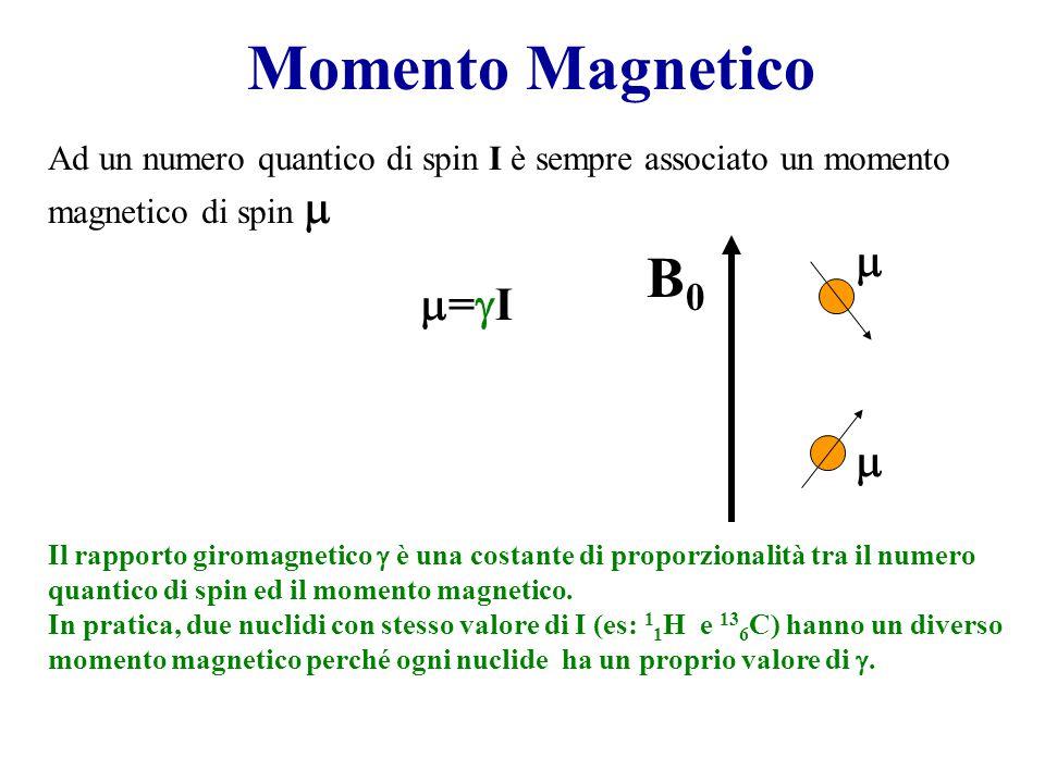 Momento Magnetico =I=I Ad un numero quantico di spin I è sempre associato un momento magnetico di spin  Il rapporto giromagnetico  è una costante di proporzionalità tra il numero quantico di spin ed il momento magnetico.