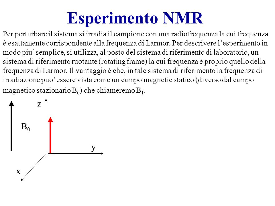 Esperimento NMR Per perturbare il sistema si irradia il campione con una radiofrequenza la cui frequenza è esattamente corrispondente alla frequenza di Larmor.