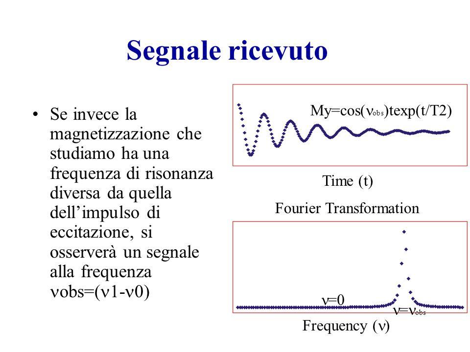 Segnale ricevuto Se invece la magnetizzazione che studiamo ha una frequenza di risonanza diversa da quella dell'impulso di eccitazione, si osserverà un segnale alla frequenza obs=( 1- 0) My=cos( obs )texp(t/T2) Time (t) Fourier Transformation Frequency ( ) My=cos( obs )texp(t/T2) =0 = obs