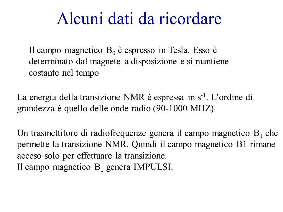 Alcuni dati da ricordare Il campo magnetico B 0 è espresso in Tesla.