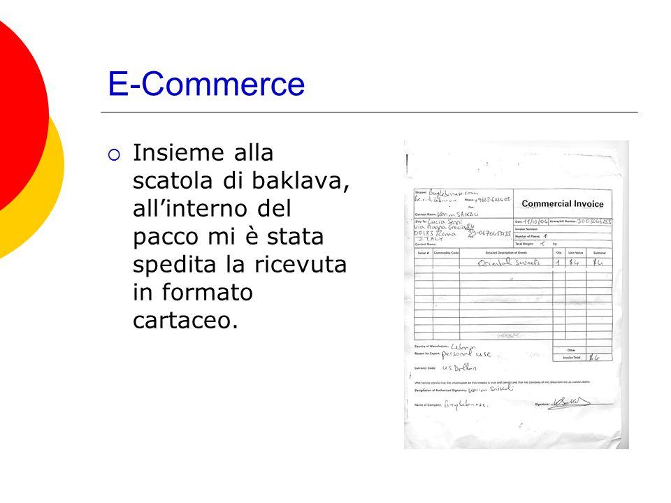 E-Commerce  Insieme alla scatola di baklava, all'interno del pacco mi è stata spedita la ricevuta in formato cartaceo.