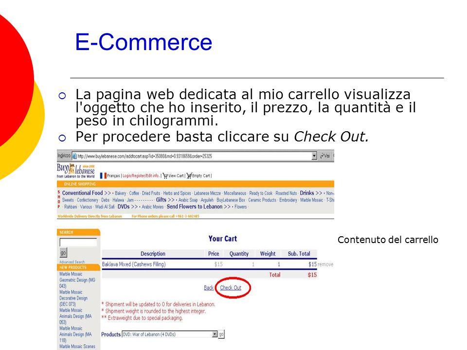 E-Commerce  La pagina web dedicata al mio carrello visualizza l'oggetto che ho inserito, il prezzo, la quantità e il peso in chilogrammi.  Per proce