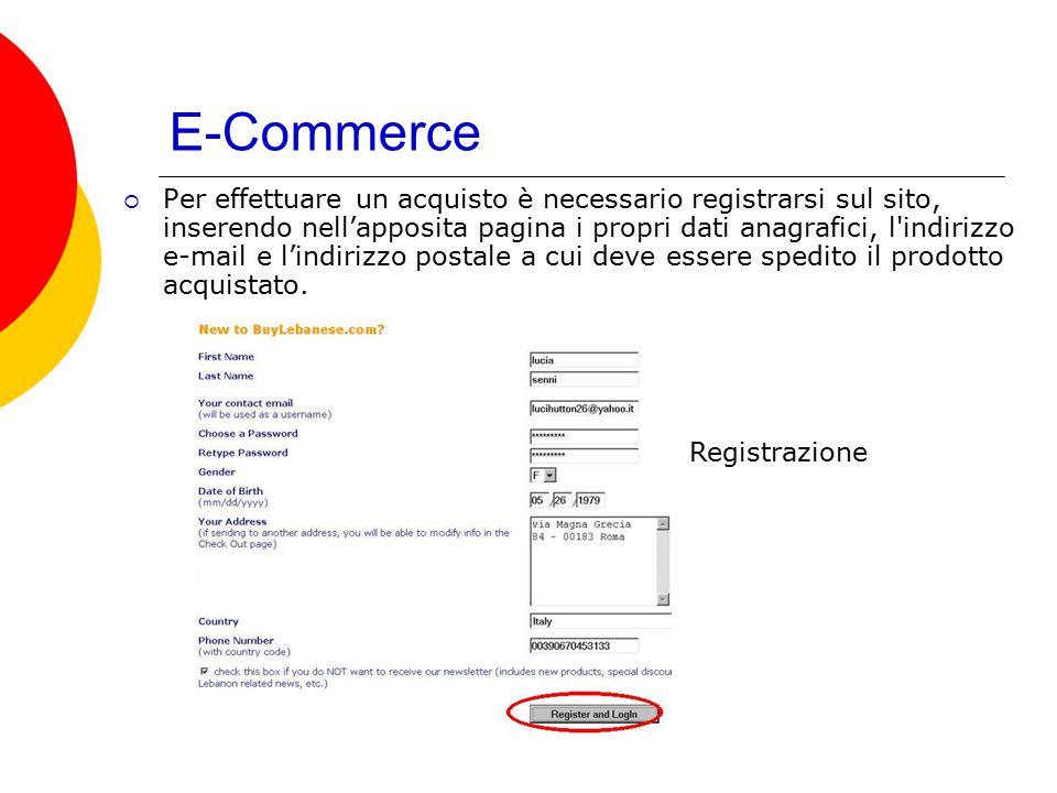 E-Commerce  Per effettuare un acquisto è necessario registrarsi sul sito, inserendo nell'apposita pagina i propri dati anagrafici, l'indirizzo e-mail