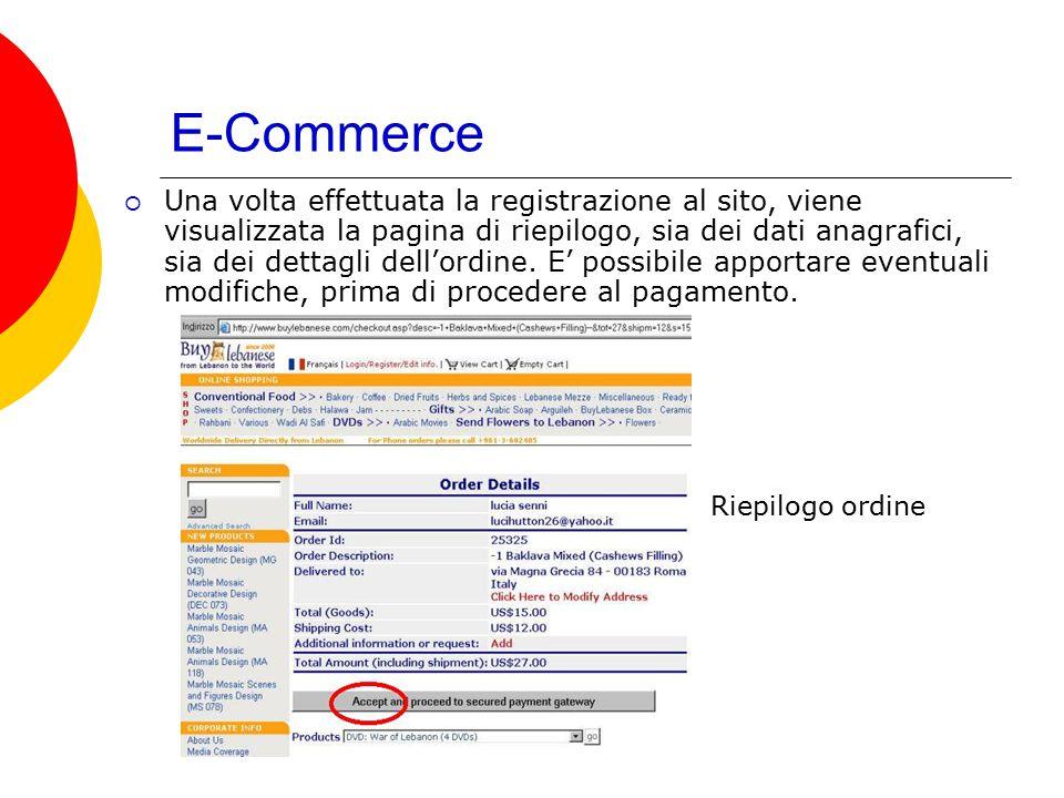 E-Commerce  Una volta effettuata la registrazione al sito, viene visualizzata la pagina di riepilogo, sia dei dati anagrafici, sia dei dettagli dell'