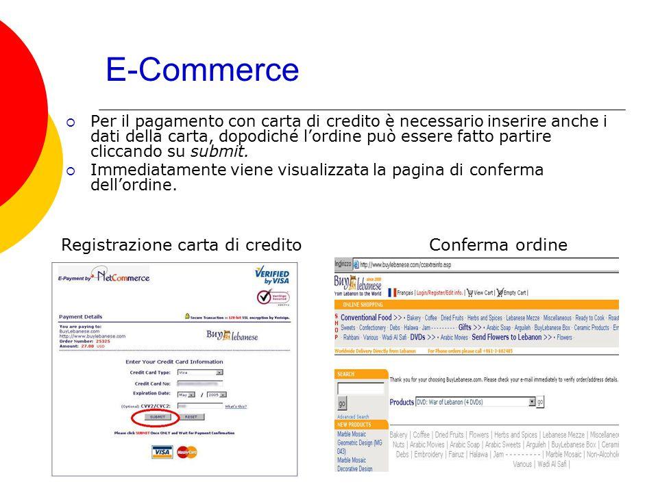 E-Commerce  Per il pagamento con carta di credito è necessario inserire anche i dati della carta, dopodiché l'ordine può essere fatto partire cliccan