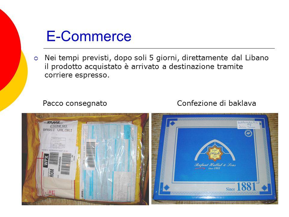 E-Commerce  Nei tempi previsti, dopo soli 5 giorni, direttamente dal Libano il prodotto acquistato è arrivato a destinazione tramite corriere espress