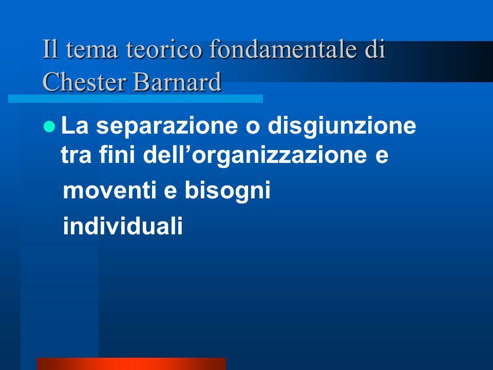 Chester Barnard, l'organizzazione tra cooperazione e partecipazione Distinzione e negoziazione della personalità individuale con la personalità organi