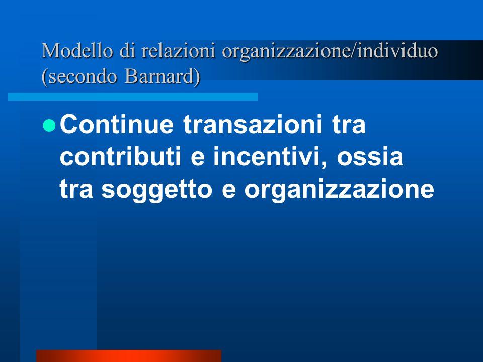 Il tema teorico fondamentale di Chester Barnard La separazione o disgiunzione tra fini dell'organizzazione e moventi e bisogni individuali
