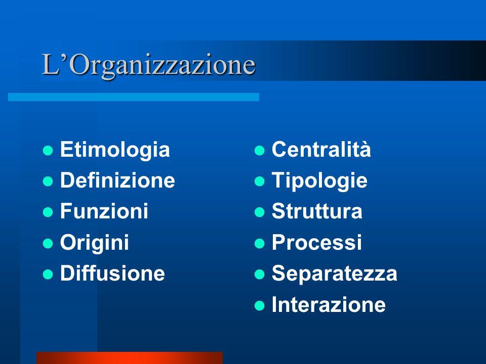 Le domande che ci poniamo sull'organizzazione Che cos'è? Come è fatta? Come si è sviluppata? Come funziona? Come è stata interpretata? Com'è il suo co