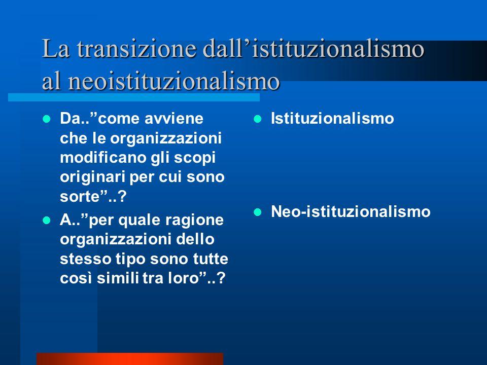 """Teorie neoistituzionali e la legittimazione istituzionale..""""perché le organizzazioni come autonomo oggetto di studio tendono a confondersi e a sparire"""
